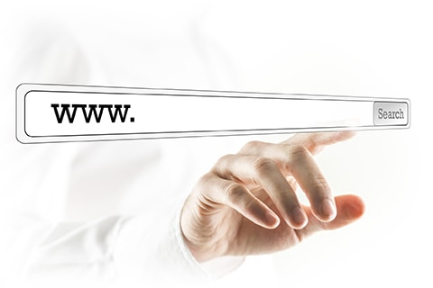WWW in a search bar on a virtual screen